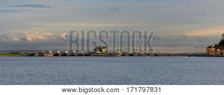 Cardiff Bay barrage panorama. Inshore side of barage between Queen Alexandra Dock and Penarth Head in Cardiff Wales UK