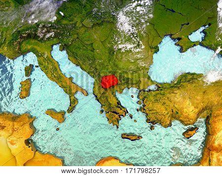 Macedonia On Illustrated Globe