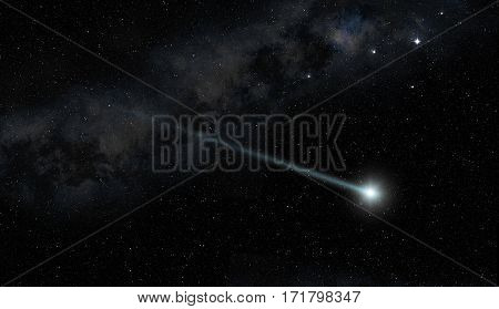 comet star twinkling in the night sky