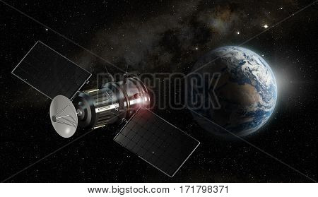 satellite orbiting the earth 3d illustration - elements of this image furnished by NASA