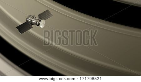 space probe orbiting the saturn rings 3d illustration