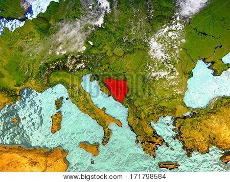 Bosnia On Illustrated Globe