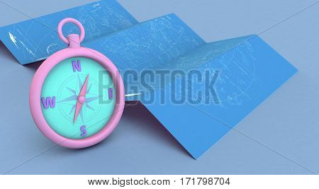 3D Rendering Blue Maps And Compass On Blue Background