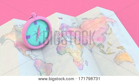 3D Rendering Colorful Maps And Compass On Pink Background