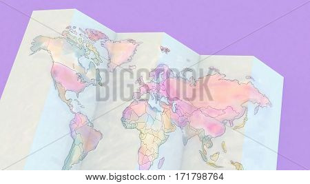 3D Rendering Colorful Maps On Purple Background