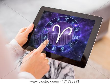 Aries zodiac sign on tablet computers screen