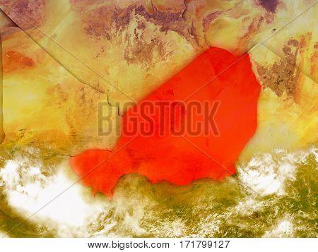 Niger On Illustrated Globe