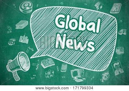 Speech Bubble with Text Global News Cartoon. Illustration on Blue Chalkboard. Advertising Concept. Business Concept. Loudspeaker with Phrase Global News. Cartoon Illustration on Blue Chalkboard.