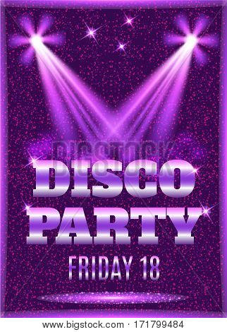 Disco party poster template with shining spotlights. Vector illustration