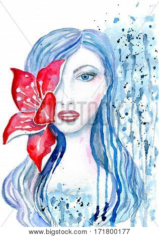 Portrait of a woman with a flower in her hair in red and blue tones, splashes and stains isolated on white background, hand-painted watercolor illustration and paper texture