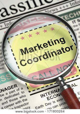 Marketing Coordinator - Close Up View of Jobs Section Vacancy in Newspaper with Magnifier. Newspaper with Searching Job Marketing Coordinator. Job Search Concept. Selective focus. 3D.