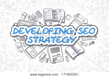 Cartoon Illustration of Developing SEO Strategy, Surrounded by Stationery. Business Concept for Web Banners, Printed Materials.