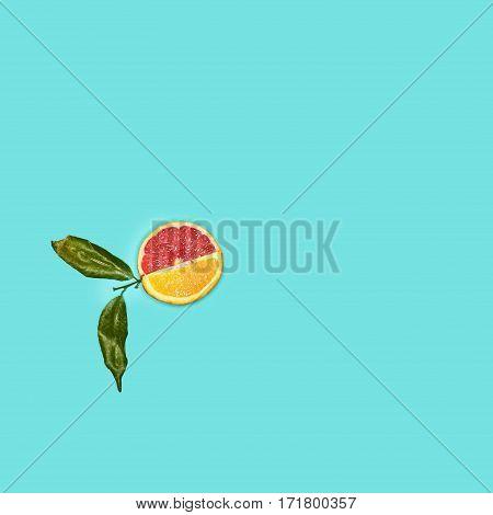 Grapefruit and orange citrus fruit halves on blue wooden background.