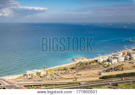 View of the Mediterranean sea Haifa Bay and Bat Galim neighborhood from slopes of Mount Carmel Stella Maris in Haifa Israel