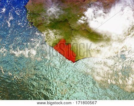 Liberia On Illustrated Globe