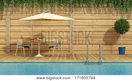 Round table with breakfast under a parasol by the pool - 3d rendering