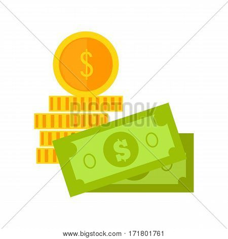 Bills and coins vector. Flat style. Dollar banknotes and gold coin illustration for investment, gambling, savings, winings  concepts, icon, logo design. Isolated on white background.