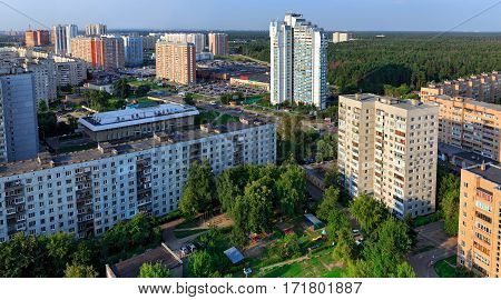 Aerial view of the modern and old residential district in city Balashikha. Moscow region, Russia.