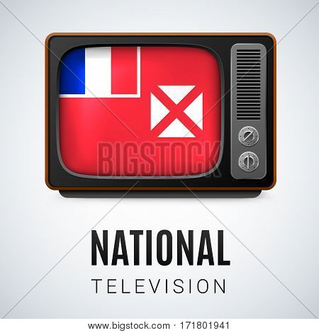 Vintage TV and Flag of Wallis and Futuna as Symbol National Television. Tele Receiver with flag design