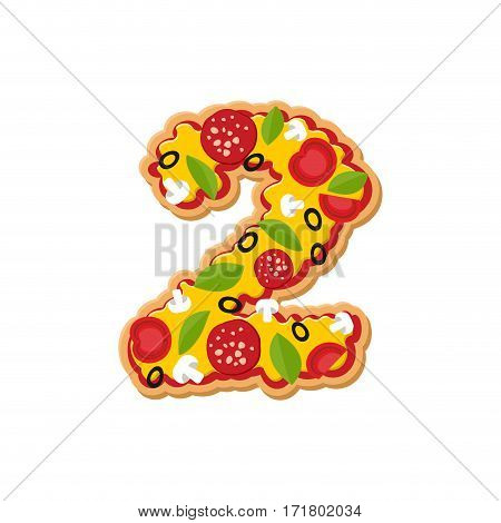 Number 2 Pizza Font. Italian Meal Alphabet Numeral Two. Lettring Fast Food