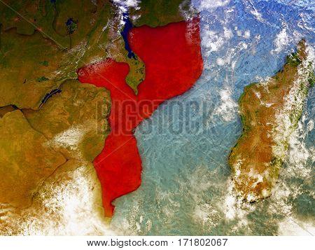 Mozambique On Illustrated Globe