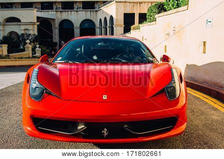 Ferrari show 8 october 2016 in Valletta Malta near Grand Hotel Excelsior. Front view of red Ferrari 458 Spider
