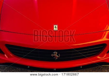 Ferrari show 8 october 2016 in Valletta Malta near Grand Hotel Excelsior. Hood of red Ferrari