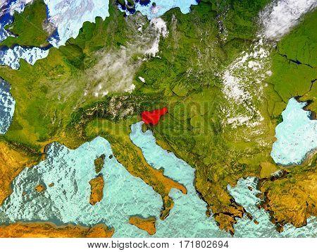 Slovenia On Illustrated Globe