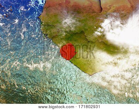 Sierra Leone On Illustrated Globe