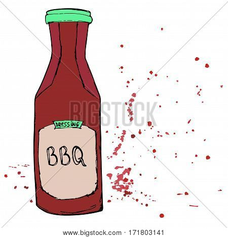 BBQ sauce bottle with splashes and stains. Hand drawn barbeque dressing. Vector sketch.