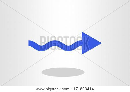 Illustration of curved arrow against plain background