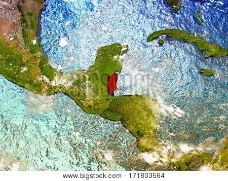 Belize On Illustrated Globe