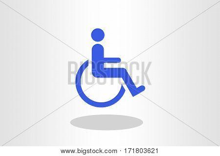 Illustration of blue wheel chair against plain background