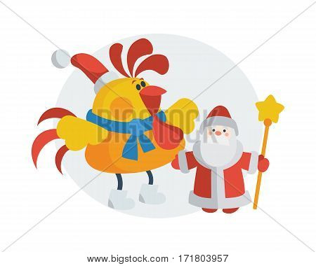Rooster with Santa Claus. Cock in Christmas hat near Santa with scepter isolated flat vector. Chinese zodiac calendar animal cartoon characters for New Year greeting card, xmas holiday invitation