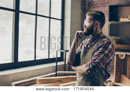Successful Handsome Cabinetmaker Look To The Side At Window. Stylish Young Entrepreneur With Brutal