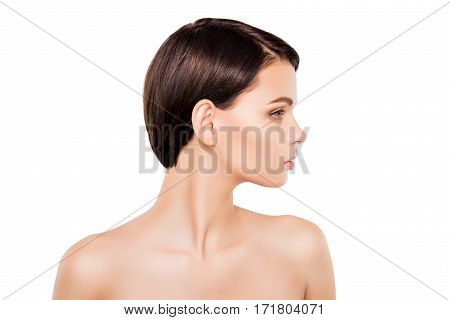 Side View Of Young Pretty Brunette With Modern Short Hairstyle