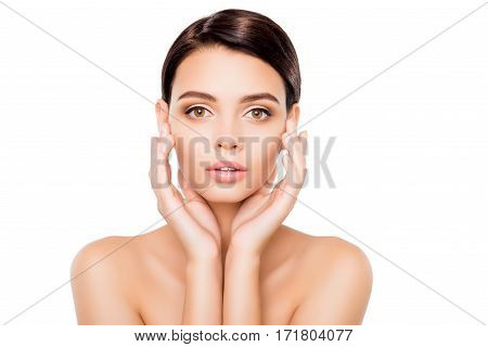 Portrait Of Sensual Beautiful Woman Touching Her Face