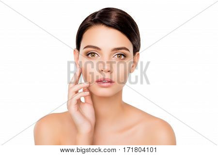 Portrait Of Attrective Beautiful Woman Touching Her Face