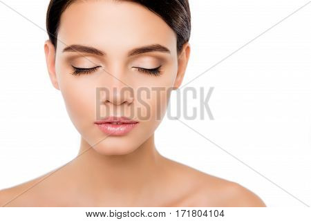 Close Up Of Pretty Woman Showing Her Modern Make Up