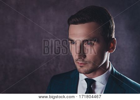 Portrait Of Handsome Serious Young Businessman In Formalwear