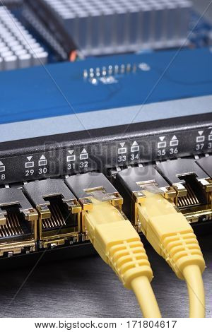 Network Switch with Gbic and Ethernet Cable Close-up