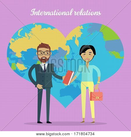 International relations vector concept. Flat design. Nations cooperation and collaborations. Caucasian man, asian woman standing and sharing book on violet background with world map in shape of heart