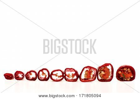 Fresh Cut Vegetable, Capsicum, Chilli Pepper Isolated On White Background