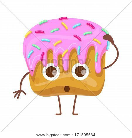Cupcake with pink flowing topping and small colourful confetti. Confused cartoon character. Surprised bun with topping decorated with candies. Isolated confectionery illustration. Flat design. Vector