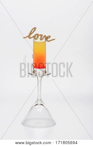 Cocktail Sex On The Beach On Wineglass With Love Inscription