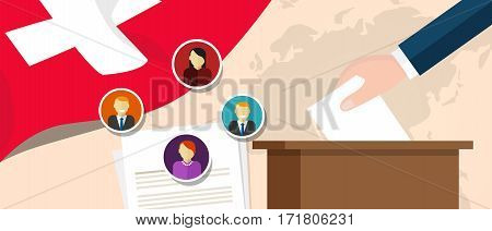 switzerland Swiss democracy political process selecting president or parliament member with election and referendum freedom to vote vector