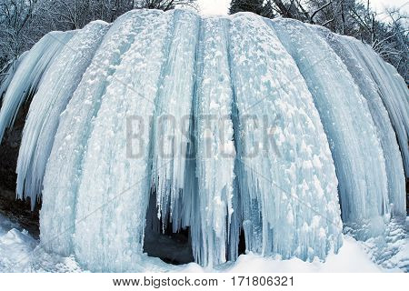 Frozen waterfall in winter. Icefall Siklava Skala Slovakia