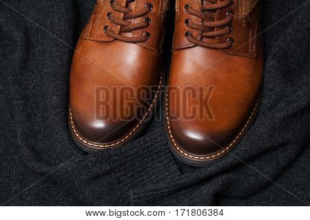 fashion leather shoes, a dark sweater. Autumn and spring clothes