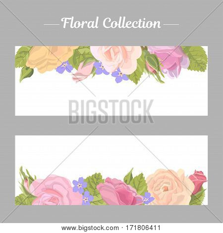 Set narrow floral romantic horizontal border with rose on white background. Delicate flower, buds, leaves, roses, banner for website or card for greetings valentine or wedding, vector illustration