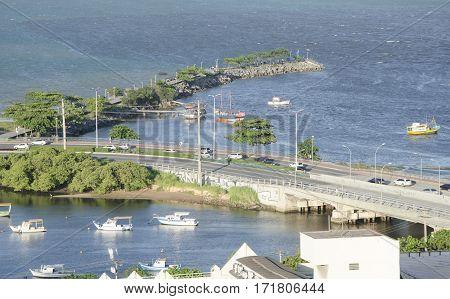 VITORIA BRAZIL - DECEMBER 27th 2016 ; Cove Jetty for tourist boat in Vitoria capital of Espirito Santo state Brazil
